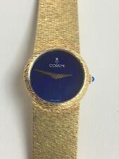 """Vintage18k Yellow Gold Corum Lapis Face Ladies Watch Size 6 1/4"""""""