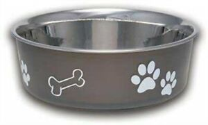 Pet Dog Bowl Bella Espresso 4 Sizes Stain less steel Vet Recommended Rubber Base