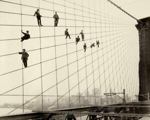 Antique Photo ..Painters on the Brooklyn Bridge 1914 .. Photo Print  8X10