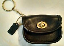 COACH Vintage Black Leather City Bag Coin Purse w/Keychain Fob RARE