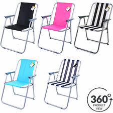 FOLDING DECK CHAIR OUTDOOR GARDEN PATIO BEACH BBQ CAMPING FISHING SEAT 4 COLOURS