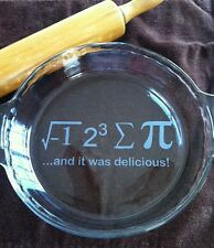 Etched Glass Pie Plate I Ate Sum Pie and it was delicious Math  Pi Dish Engraved
