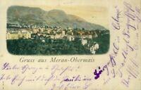 Rarität Litho Gruss aus Meran Obermais 21.3.1915 Correspondenz-Karte