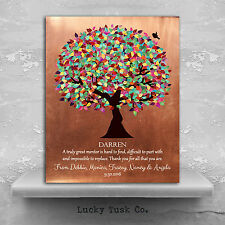 (LT-1408) Personalized Mentor Gift Colorful Tree of Faux Copper Background Pe...