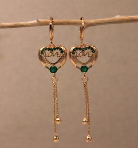18K Gold Filled -Hollow Heart Flower Lady Tassel Bead Pearl Long Dangle Earrings