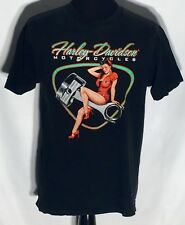 Harley-Davidson Motorcycles Sexy Girl Woman 1950's Style Large L Black T-shirt