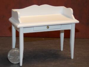 Dollhouse Miniature Small White Desk 1:12 one inch scale Y45 Dollys Gallery