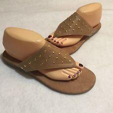 Aerosoles Branchless Flip Flop Thong Sandal slides Tan Gold Beads 9 M