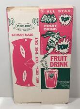 Vintage All Star Batman Pink Fuit Drink Unused Carton 1966 Cut-Out Mask NM