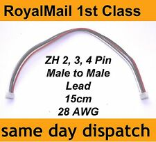 JST-ZH 1.5 Male to Male lead 2-Pin, 3-Pin, 4-Pin plug eg. Spektrum small 28 AWG