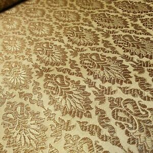 Antique Gold Brocade Floral Jacquard Print Indian Faux Silk Banarasi Fabric 44""