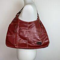 Red Leather Harve Benard Bag Purse Handbag Shoulder Bag Zippers Studs