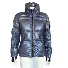 SAM NEW YORK Quilted Down Puffer Jacket Pewter Blue Women's Medium $350.00
