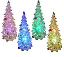 "3 ""LED Crystal in plastica in miniatura natale Xmas Tree Colore Modifica Luce REGALO"