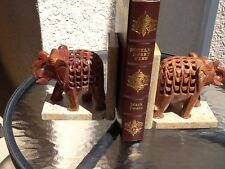 Marble Elephant Bookends, India Artisan Carved, Openwork Jali Style, Mint