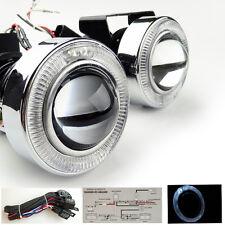 White Car Angel Eye Projector Fog Light Lens Kit Halo LED Lamp Metal HID READY