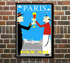 Pan Am Paris - Vintage Airline Travel Poster [6 sizes, matte+glossy avail]