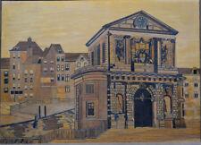 Einlegearbeit, Intarsienbild, Ebenistenarbeit, Holz, Stadttor, etwa 1900