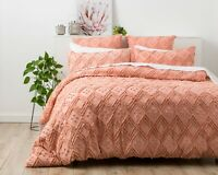 Park Avenue Medallion cotton Vintage washed Tufted Quilt Cover Set Blush