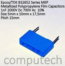 1 PC 5mm #wp b32656t2104k diapositivas condensador mkp 0,1uf 2000vdc//700vac 10/% rm37
