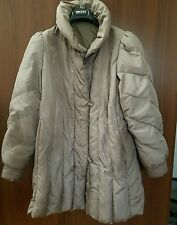 The Membership Gray Zip-up Button Front Women's Polyester Puffer Bubble Coat L