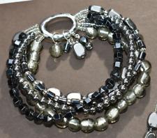 Silpada Sterling Silver Hematite HAILSTONE Stretch 5 strand  Bracelet  B1935