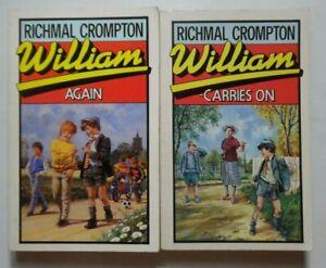 2 WILLIAM BOOKS WILLIAM AGAIN & WILLAM CARRIES ON RICHMAL CROMPTON JUST