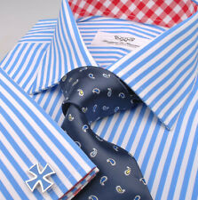 New Blue Striped Mens Business Dress Shirt Formal Luxury Red Check Inner Lining