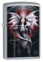 Zippo Anne Stokes Dragon Warrior Street Chrome Windproof Pocket Lighter, 49096