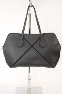 Furla Laguna onyx black leather logo x scalloped tote handbag purse NEW $548