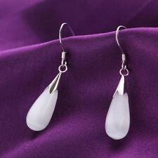 Woman's Jewelry 925 plated solid Silver Opal /Cat Eye Gemstone Dangle Earring