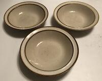 """SET (3)Sango Rainbow Stoneware CAPRI 651 Soup Cereal Bowl 7 3/8"""" Brown Rim White"""