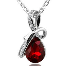 Fashion Women Drop Red Crystal Charm Pendant Chain Necklace Silver Jewelry  ~!!