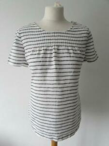 KEW 159 JIGSAW Ladies White Blue Striped Pure Linen Lightweight Top Size 14 VGC