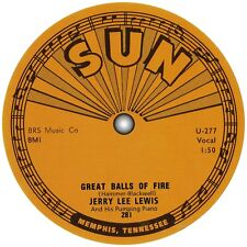 Jerry Lee Lewis. Great Balls Of Fire. Sun Records. Repro record label sticker