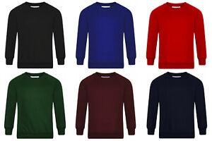 Boys Jumper Sweatshirt Crew Round Neck School Uniform PE 1-14 Years