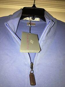 "NWT Men's MARTIN GOLF 1/4 Zip Pima Cotton Vest Size Medium ""Bluebell"" Color"