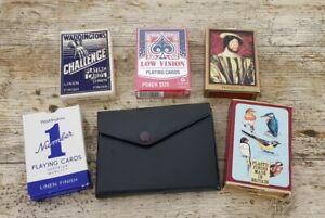 Joblot Bundle of 7 Packs of Playing Cards Waddington's Linen Finish etc