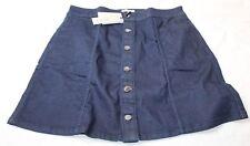 Calvin Klein Mini Jean Skirt A Line Rinse Button Dark Denim Size 32 New