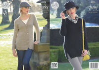King Cole Ladies Magnum Chunky Knitting Pattern V Neck Cardigan Sweater 4275