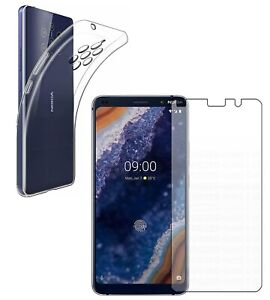 For NOKIA 9 PUREVIEW CLEAR CASE + TEMPERED GLASS SCREEN PROTECTOR SHOCKPROOF