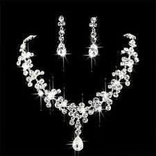 Chic Bridal Rhinestone Crystal Necklace Earring Plated Jewelry Set V3X