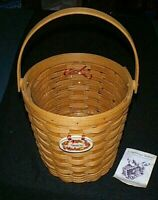 LONGABERGER 1995 SHADES OF AUTUMN Basket, Liner and Tie-on & MAPLE LEAF Tie-on