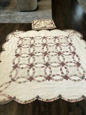 Beautiful And Soft Wedding Band Pattern Vintage Quilt With One Pillow Sham