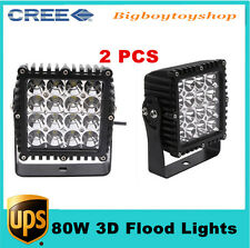 "2pcs 80W 5.3""inch LED Work Light Flood 3D Lens for JEEP Lamp Boat Offroad Truck"