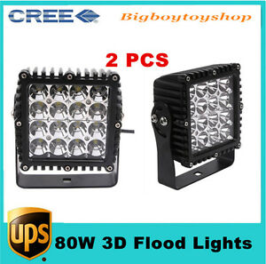 """2pcs 80W 5.3""""inch LED Work Light Flood 3D Lens for JEEP Lamp Boat Offroad Truck"""