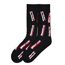 K. Bell Men's Crew Socks Bring Home The Bacon Black Novelty Funny Footwear
