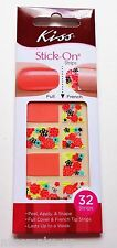 Kiss Stick-on Full & French Nail Strips Wraps Silk Peach Floral