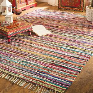 ⭐ Chindi Rag Rug Recycled Handloom Multicoloured Braided Runner Carpet Yoga Mat