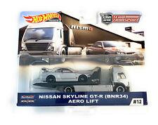 HOT WHEELS 1:64 TEAM TRANSPORT NISSAN SKYLINE GT-R (BNR34) AERO LIFT #12 FYT10